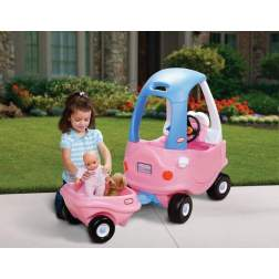 Masinuta de exterior cu pedale Little Tikes Cozy - Remorca roz