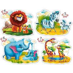 Puzzle Castorland 4 in 1 - Animals Of Africa, 4/5/6/7 Piese