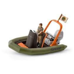 Figurina Schleich - Barca Gonflabila Cu Padurar 42352