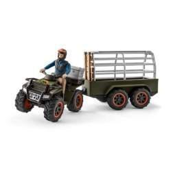 Set Figurine Schleich - Padurar Transportand Un Tigru Cu Atv-Ul 42351