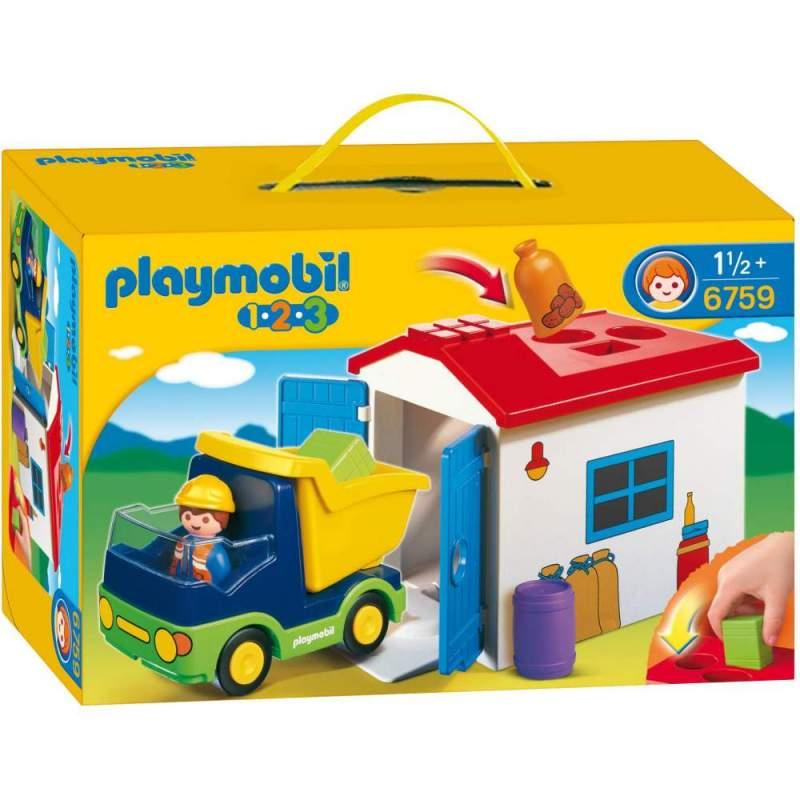 Playmobil 1.2.3 Camion Cu Garaj (6759)