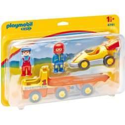Playmobil 1.2.3 Masaina De Curse Cu Remorca (6761)