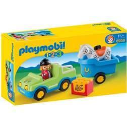 Playmobil - 1.2.3. Masina Cu Remorca Si Cal (6958)