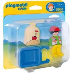 Playmobil - 1.2.3. Muncitor Cu Roaba (6961)