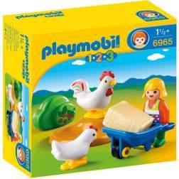 Joc Playmobil - 1.2.3 Fermiera cu Gaini (6965)