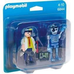Set 2 figurine Playmobil - Om de Stiinta si Robot (6844)