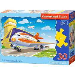 Puzzle Castorland - A plane on the Runway, 30 piese