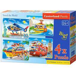 Puzzle 4 in 1 Castorland - Travel the World, 8/12/15/20 piese