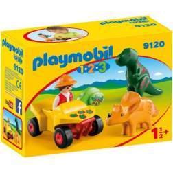 Set Playmobil 1.2.3 - Explorator Cu Dinozaur 9120
