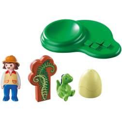Set Playmobil 1.2.3 - Fetita Cu Oul Dinozaurului 9121