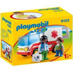 Set Playmobil 1.2.3 - Ambulanta Si Echipajul De Salvare 9122