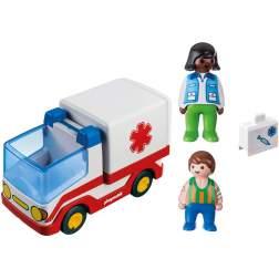 Set Playmobil 1.2.3 - Ambulanta Si Echipajul De Salvare 9122