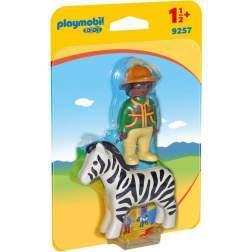Set Playmobil 1.2.3 - Padurar Cu Zebra 9257