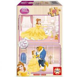 Puzzle din lemn Educa - Disney Princesses : The Beauty and the Beast, 2x50 piese (14502)
