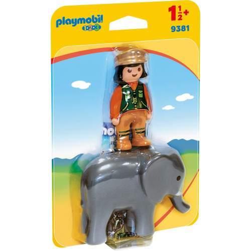 Set Playmobil 1.2.3 - Ingrijitor Zoo Cu Elefant 9381