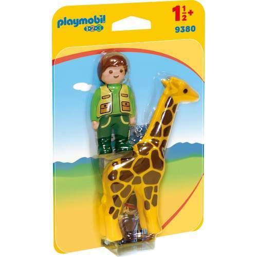 Set Playmobil 1.2.3 - Ingrijitor Zoo Cu Girafa 9380