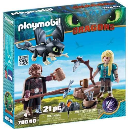 Set Playmobil Dragons - Hiccup, Astrid Si Pui De Dragon 70040