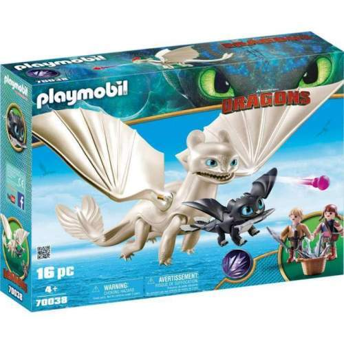 Set Playmobil Dragons - Light Fury, Pui De Dragon Si Copii 70038