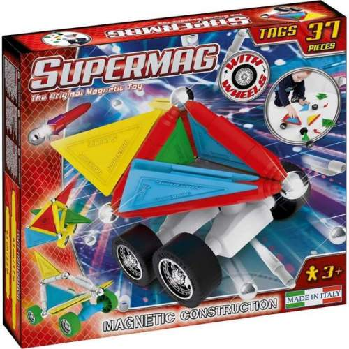Set Constructie Supermag - Tags Wheels 37 piese