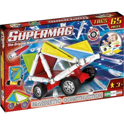 Set Constructie Supermag - Tags Wheels 65 piese