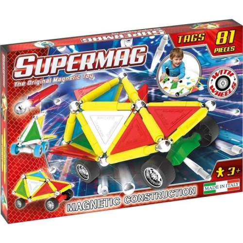 Set Constructie Supermag - Tags Wheels 81 piese