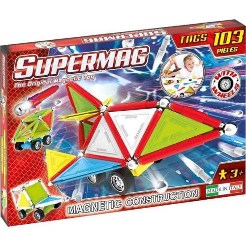 Set Constructie Supermag - Tags Wheels 103 piese