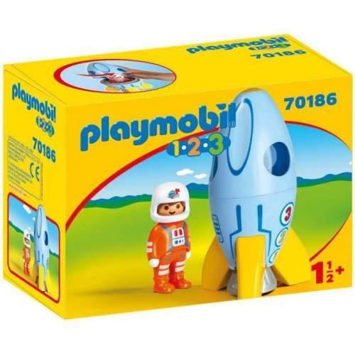 Set Playmobil 1.2.3 - Astronaut Cu Racheta 70186