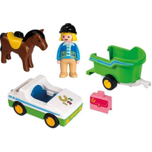 Set Playmobil 1.2.3 - Masina Cu Remorca Si Calut 70181