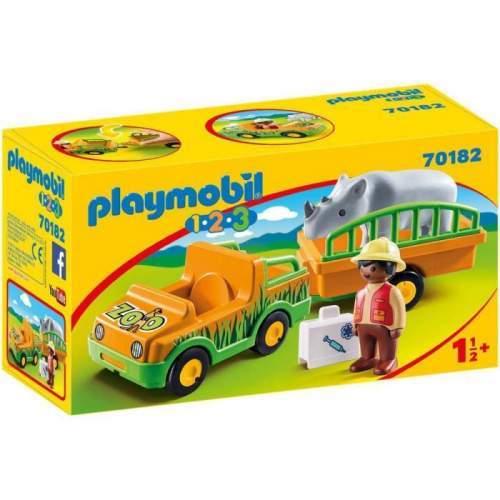 Set Playmobil 1.2.3 - Masina Zoo Cu Rinocer 70182