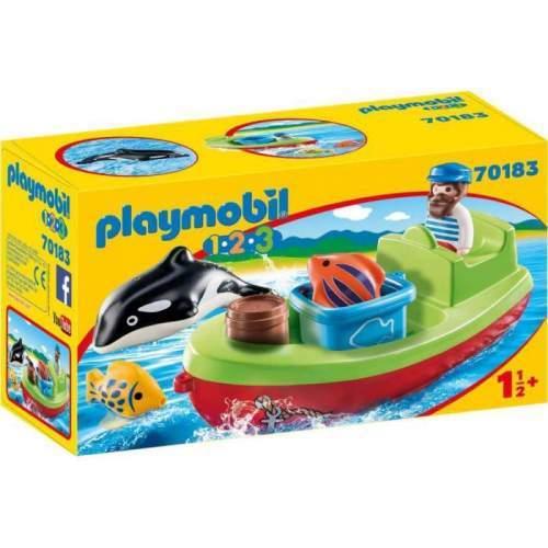 Set Playmobil 1.2.3 - Pescar Cu Barca 70183